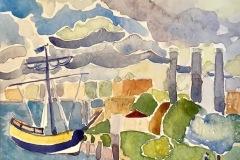 Clarkson_Katherine_USS-Providence-Resting-in-Providence-RI-Harbor_watercolor_12x9_600