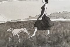 Kelbaugh_Pat_WalkingHerDog_indiaink_16x20_275