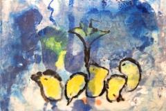 Mansell_Catherine_Five-Crazy-Chicks_sumi-e-encausticmonoprint_11-x14_-700