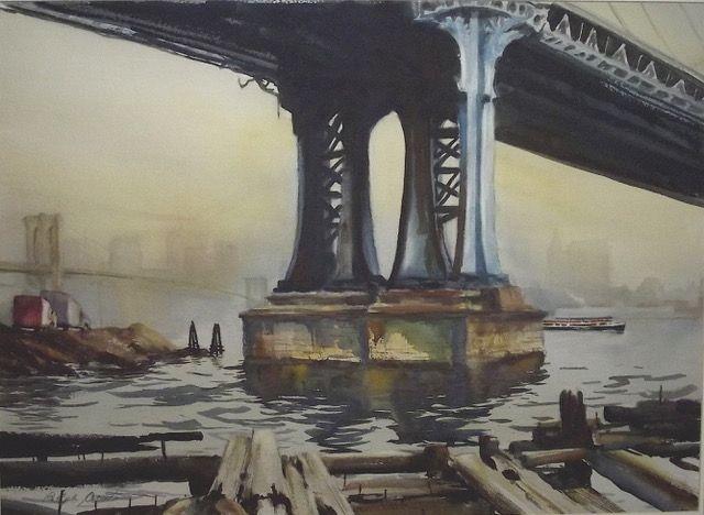 Acosta View View from Manhatten Bridge Brooklyn watercolor