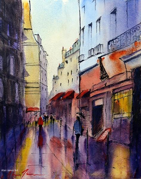 James Rainy Night in Paris watercolor
