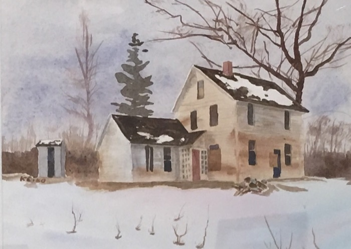 Kaiser House on Bushy Hill watercolor