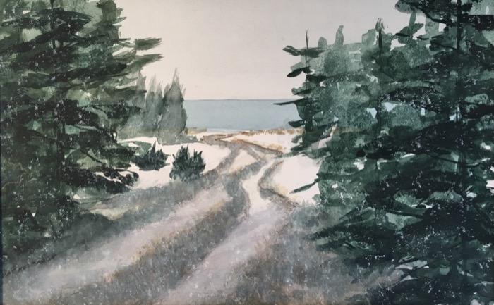Kelbaugh Beach Path on a Snowy Morning watercolor