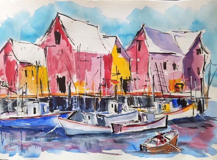 Raicik Coming to Port watercolor