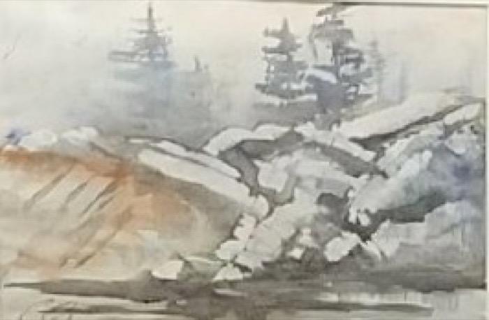 Raicik Rock Sculpture watercolor