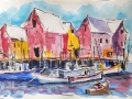 Raicik Coming to Port watercolor