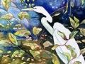 van nes snowy egret II watercolor