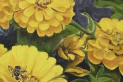 Nickols_Claire_Zinnias-With-a-Snoozing-Bee_oil_18x14_900