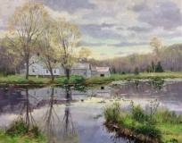 "Thomas Adkins, ""Spring Lily Pond"", oil, 16x20, $2,600"