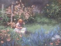 """Joann Ballinger, """"Storytime in Ms. Florence's Garden"""", pastel, 9x12, $1,500"""