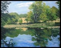 "Richard Bazelow, ""Still Pond Reflections"", acrylic, 8x10, Sold"