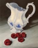 """Dawn Bisharat, """"Framboises et pot de crème"""", acrylic, 8x10, $425"""