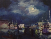 """John Caggiano, """"Moon Rise on the River"""", oil, 9x12, $1200"""