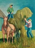 """Michael Centrella, """"Unloading the Hay"""", oil, 16x12, $475"""