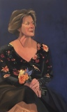 """Diane Chandler, """"Gail with Flowers"""", oil, 30x18, $900"""