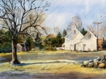 "JoAnna Chapin, ""The White Barns"", watercolor, 17x23, $650"
