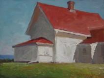 "Rick Daskam, ""Monhegan Museum, Strong Light"", oil, 9x12, $950"