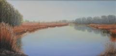 """Linda Boisvert-DeStefanis, """"Mist Over Lyme Marsh"""", oil, 12x24, $1,150"""