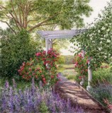 """Angie Falstrom, """"Evening in the Griswold Garden"""", watercolor, 3.75x3.75, $1,200"""