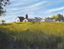 """Jean-Pierre Jacquet, """"Cainandaiga Farm"""", oil, 11x14, $900"""