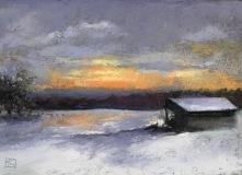 """Kathy Kuryla, """"Winter Sunset"""", pastel, 5x7, $600"""