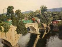"Lois Lawrence, ""Bridge of Flowers - Shelburne Falls, MA"", acrylic, 9x12, $350"