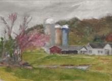 """Suzanne Lewis, """"Spring, Tiffany Farm"""", oil/copper, 9x12, $200"""