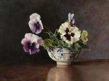 "Patti Lizotte, ""Pansies in a Bowl"", oil, 12x16, $725"