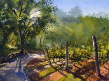 """Paul Loescher, """"A Vineyard Evening"""", watercolor, 12x16, $1,200"""