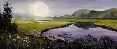 """Paul Loescher, """"Hazy Beginnings"""", watercolor, 10x23, $1,250"""