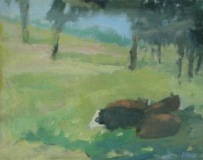 "Ariane Luckey, ""Seeking Shade"", oil, 16x20, $1,000"