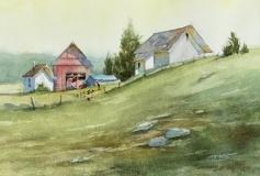 "Barbara Maiser, ""Country Life"", watercolor, 7x10, $750"