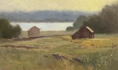 """Barbara Maiser, """"Misty River Morning"""", oil, 7x12, $950"""