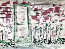 """Catherine Mansell, """"Green Door"""", watercolor, 14x10, $400"""