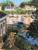 "Linda Marino, ""Bridge and Boats to Branford Point"", acrylic, 10x8, $450"