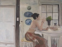 """Alicia Melluzzo, """"Lost in Thought"""", oil, 58x44, $2,200"""