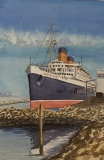 """Dave Moore, """"Queen Mary"""", watercolor, 13x9, $500"""