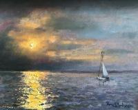 """Thomas Moukawsher, """"Sound Sunset"""", oil, 11x14, $850"""