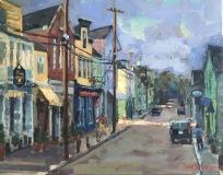 """Thomas Moukawsher, """"Water Street Stonington"""", oil, 11x14, $950"""