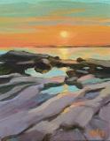 "Sara Drought Nebel, ""West Wharf Sundown"", acrylic, 8x10, $495"