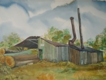 """Robert Oxenhorn, """"Moor's Sawmill"""", watercolor, 22x30, $1,200"""