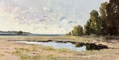 """Howard Park, """"Barn Island"""", oil, 12x24, $2,400"""