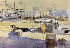 "Howard Park, ""Unloading at Stonington Town Docks"", watercolor, 15x22, $1,000"