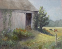 """Liane Philpotts, """"Who Let the Cows Out?"""", oil, 8x10, $300"""