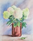 """Cora Preibis, """"Hydrangea in Copper Pot"""", watercolor, 15x11, $300"""