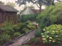 "Catherine Puccio, ""Miss Flo's Garden"", oil, 9x12, $800"