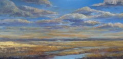 "Barbara Rossitto, ""Golden Glow Salt Marsh"", oil/gold aluminum , 12x24, $900"