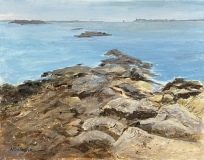 "Nick Salerno, ""Mystic River from Mason's Island"", acrylic, 11x14, $400"