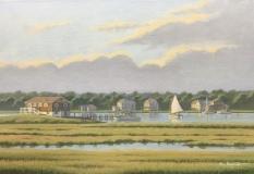 """Ron Saporito, """"Evening at the Shoreline"""" acrylic, 12x18, $1,200"""