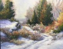 "Linda Sinacola, ""Early Snow"", oil, 16x20, $950"